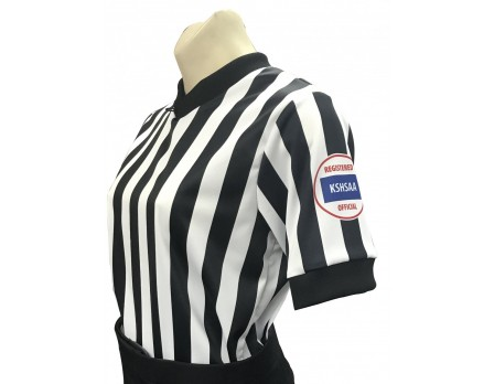 "USA211KS-FLEX Kansas (KSHSAA) 1"" Stripe Body Flex Women's V-Neck Basketball Referee Shirt"