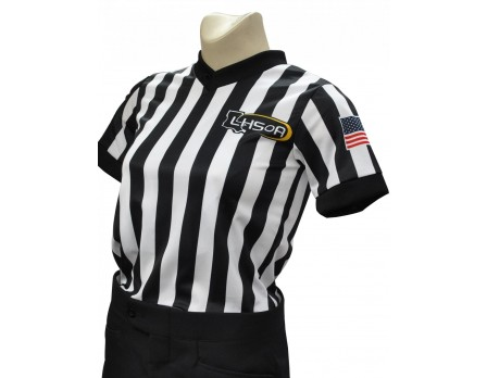 "USA211LA-FLEX Louisiana (LHSOA) 1"" Stripe Body Flex Women's V-Neck Referee Shirt"