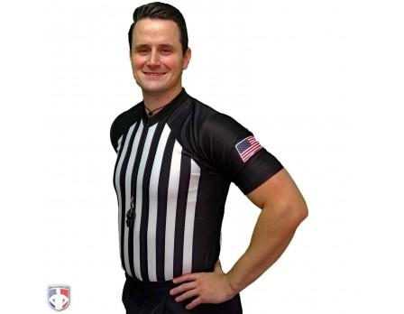 USA216-FLEX Smitty NCAA Basketball Referee Shirt Front Angled View