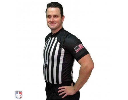USA216 Smitty Performance Mesh NCAA Basketball Referee Shirt Front Angled View