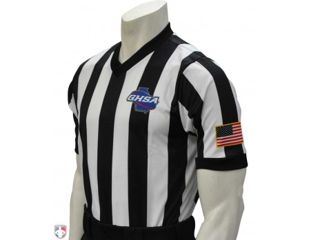 "USA220GA-Georgia (GHSA) Men's 2"" Stripe V-Neck Basketball Referee Shirt"
