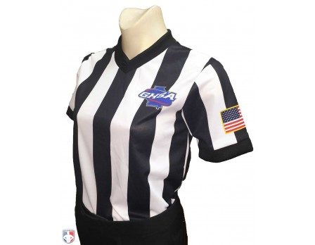 "USA221GA-Georgia (GHSA) Women's 2"" Stripe V-Neck Basketball Referee Shirt"