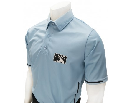 Alternate BASE MiLB Smitty Umpire Shirt - Polo Blue with Black Vertical Stripe