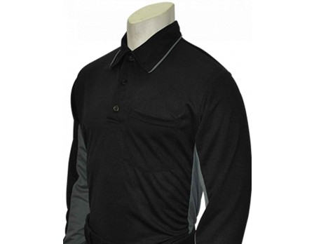 S313-BK Smitty Major League Replica Long Sleeve Umpire Shirt - Black with Charcoal Grey