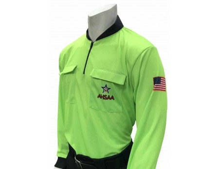 Alabama (AHSAA) Long Sleeve Soccer Referee Shirt - Fluorescent Green