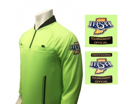 USA901IN-FG Indiana (IHSAA) Long Sleeve Soccer Referee Shirt - Florescent Green