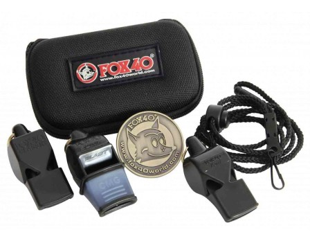 W3PAK Fox 40 3-Pack Referee Whistle Kit With Lanyard, Flip Coin and Case