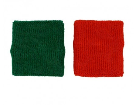 Red and Green Wrestling Referee Wristbands - 3""