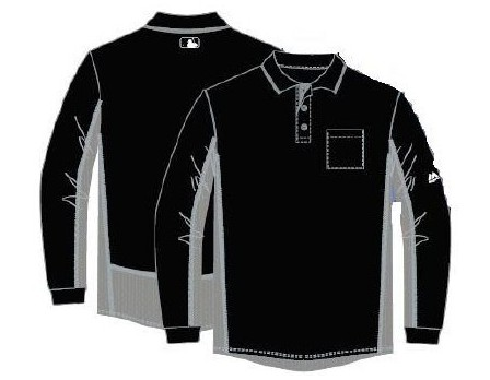 GU05-BK/GY Majestic MLB Long Sleeve Umpire Shirt - Black and Grey