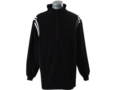S322-BK Smitty Open Bottom Half-Zip Umpire Jacket - Black and White