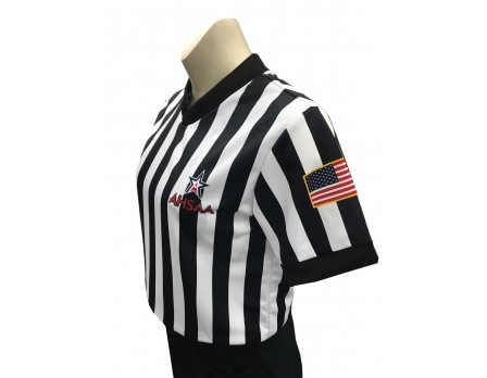"USA211AL Alabama (AHSAA) 1"" Stripe V-Neck Women's Referee Shirt"