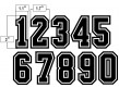 "N3-SUB-BWB 3"" Precision Cut Numbers Black on White on Black"