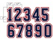 "N3-SUB-NWR 3"" Precision Cut Umpire Numbers - Navy on White on Red"