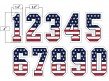 N4-SUB-SNS USA Stars and Stripes Precision-Cut Numbers